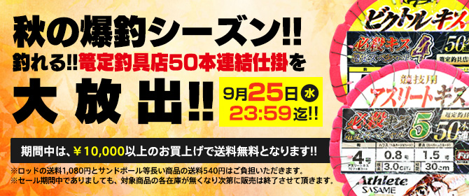 秋のキス爆シーズン到来!!篭定釣具店50本連結仕掛大放出セール